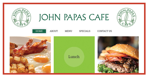 Web site designed for John Papas Cafe