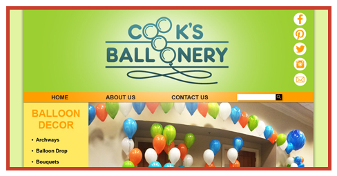 Web site designed for Cook's Balloonery